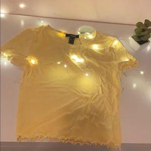 Forever 21 Yellow lettuce edge tee shirt ✨✨